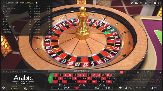 Arabic Roulette:アラビック ルーレット│ウィリアムヒルライブカジノ