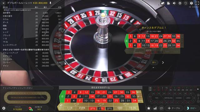 Double Ball Roulette:ダブルボールルーレット│ウィリアムヒルライブカジノ