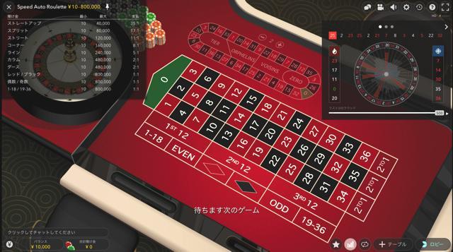 Speed Auto Roulette:スピードオートルーレット│ウィリアムヒルライブカジノ
