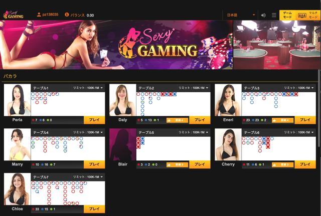 パイザカジノのSexy Gaming(セクシーゲーミング)とは?