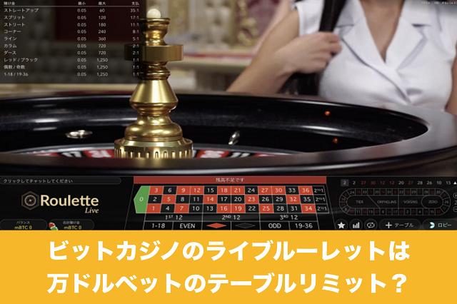 ビットカジノのライブルーレットは万ドルベットのテーブルリミット?