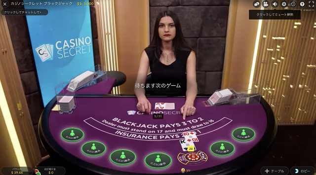 カジノシークレット専用ブラックジャックテーブル