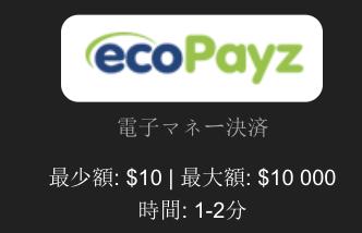 エコペイズ(ecoPayz)の最小入金額と入金上限金額は?