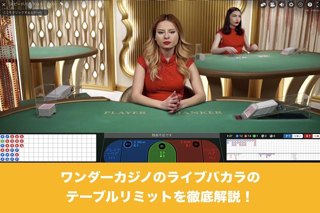 ワンダーカジノのライブバカラのテーブルリミットを徹底解説!