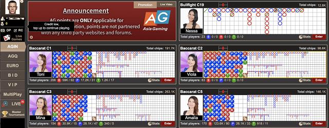 コニベットのアジアゲーミング(Asia Gaming)社のライブバカラテーブル数は?