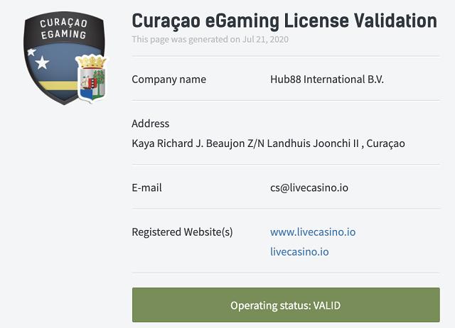 ライブカジノアイオーのカジノライセンスはキュラソー島発行で信頼性に問題なし