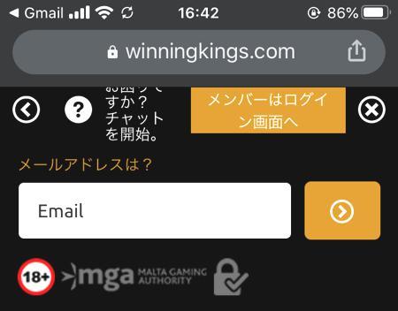 スマホやタブレット端末からウイニングキングスに会員登録する方法 その6