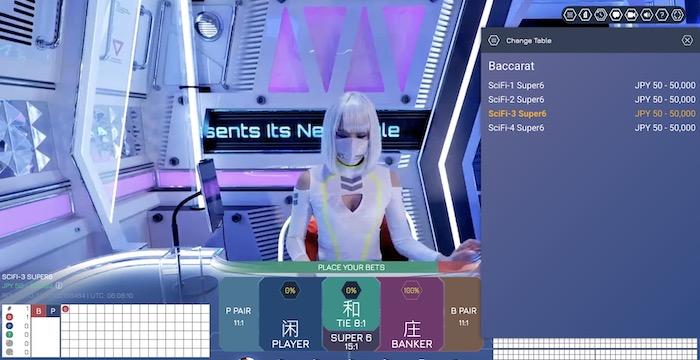 Sci-Fi社のライブバカラテーブル情報 │ボンズカジノ